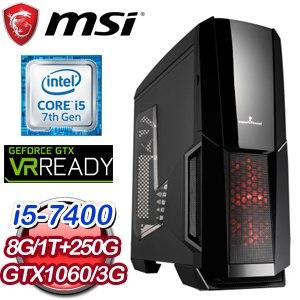 微星 PLAYER【勞基法】Intel i5-7400 GTX 1060 3G 獨顯高效能電腦