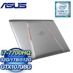 ASUS 華碩 GL502VS-0111E7700HQ 15吋筆記型電腦 (鈦灰/i7-7700HQ/16G*2/1TB+512G/GTX1070 8G/WIN