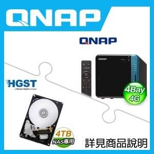 組合》 QNAP TS-453B-4G NAS + HGST 4TB NAS碟 * 2