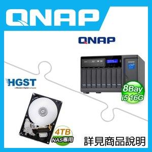 組合》 QNAP TVS-882BR-ODD-i5-16G NAS + HGST 4TB NAS碟 * 2