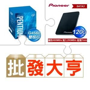 ☆批購自動送好禮★ G4560/3.5G/3M盒 LGA1151處理器(X5)+先鋒 APS-SL2-N 120GB SSD(X5) ★送華碩 DRW-24D5MT 黑 SATA燒錄機
