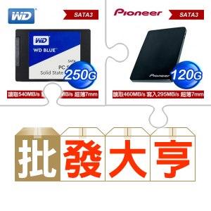 ☆批購自動送好禮★ WD 威騰 250G SSD《藍標》(X5)+先鋒 APS-SL2-N 120GB SSD(X5) ★送華碩 DRW-24D5MT 黑 SATA燒錄機