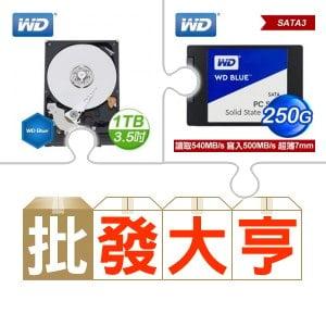 ☆批購自動送好禮★ WD 1TB 3.5吋硬碟《藍標》(X10)+WD 威騰 250G SSD《藍標》(X10) ★送飛瑞 A-500 離線式不斷電系統〈500VA Off-line UPS〉