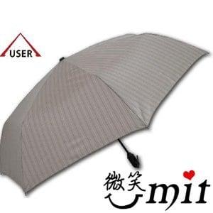 【微笑MIT】張萬春洋傘-YAND輕量自動開收傘 T3014(卡其直紋)