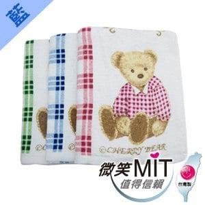 【微笑MIT】格蕾絲GRACE 802格子熊浴巾(綠色)