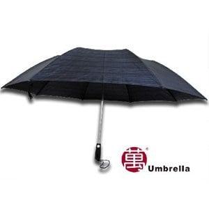 【張萬春洋傘】超大傘面兩折抗風傘 T2011(灰藍格紋)