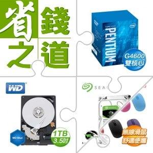 ☆自動省★ G4600處理器+威騰(藍)1TB 硬碟+希捷 新梭魚 1TB硬碟+微軟 無線行動滑鼠 1850 (不挑色)