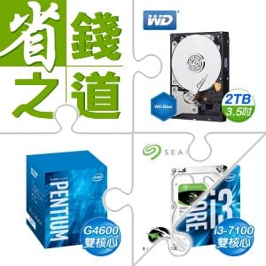 ☆自動省★ 威騰(藍)2TB硬碟(X2)+G4600(X3)+希捷 新梭魚 2TB硬碟(X2)+i3-7100(X3)