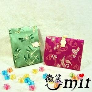 【微笑MIT】雅人手作 織錦證件夾(Y101-0006/綠牡丹)