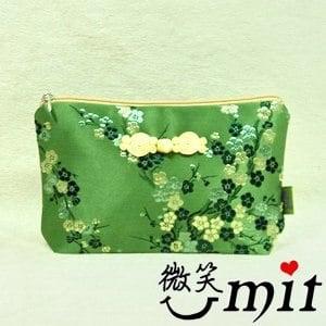 【微笑MIT】雅人手作 織錦小萬用袋(Y101-0013/綠牡丹)