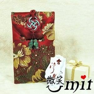 【微笑MIT】雅人手作 織錦行動香氛袋(Y101-0063/紅金竹梅)