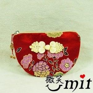【微笑MIT】雅人手作 織錦雙錢結小零錢包(Y101-0170/紅金竹梅)