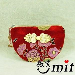 【微笑MIT】雅人手作 織錦雙錢結小零錢包(Y101-0170/泥金四季花)
