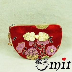 【微笑MIT】雅人手作 織錦雙錢結小零錢包(Y101-0170/紫四季)