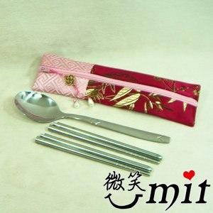 【微笑MIT】雅人手作 織錦緞環保筷套組(Y101-0177/紅金線花)