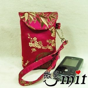 【微笑MIT】雅人手作 織錦提繩手機/相機袋(Y101-0292/紫仙女花)
