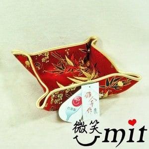 【微笑MIT】雅人手作 織錦百寶置物盒(Y105-0242/紅金竹梅)