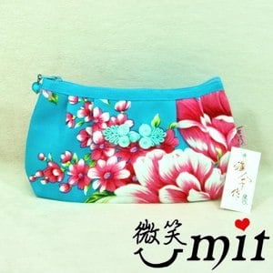 【微笑MIT】雅人手作 花布滾邊化妝包(Y101-0342/藍花)