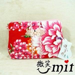 【微笑MIT】雅人手作 花布S型化妝包(Y101-0343/粉花)