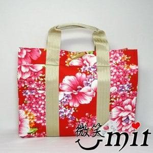 【微笑MIT】雅人手作 花布立體提袋(Y101-0356/紫花)