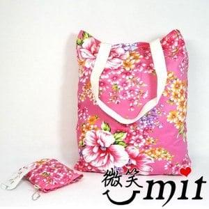 【微笑MIT】雅人手作 花布購物袋(Y101-0368/粉花)