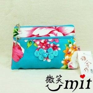 【微笑MIT】雅人手作 花布雙層零錢包(Y101-0378/藍花)
