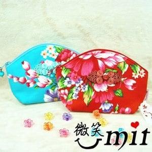 【微笑MIT】雅人手作 花布貝殼包(Y101-0379/藍花)