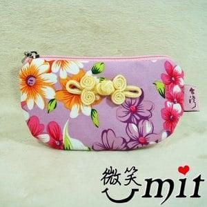 ~微笑MIT~雅人手作 花布半月包 Y101~0373 紫花