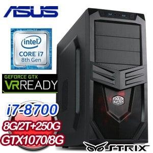 華碩 電競系列【逆天狂】i7-8700六核 GTX1070 遊戲電腦(8G/250G SSD/2TB)