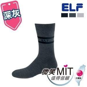 【微笑MIT】ELF 竹炭二橫紋男休閒除臭襪 5022(3雙/深灰)