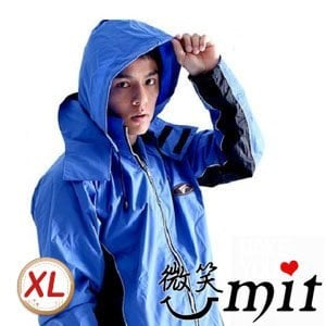 【微笑MIT】BrightDay 風雨衣兩件式 蜜絲絨休閒款(藍黑/XL)★贈雨鞋套