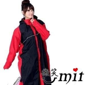 【微笑MIT】BrightDay 風雨衣連身式 蜜絲絨前開款(黑紅/L)