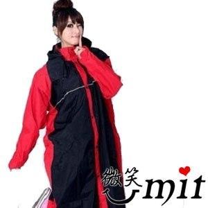 【微笑MIT】BrightDay 風雨衣連身式 蜜絲絨前開款(黑紅/XL)