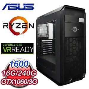 華碩 PLAYER【打草驚蛇】AMD Ryzen 5 1600 獨顯遊戲電腦