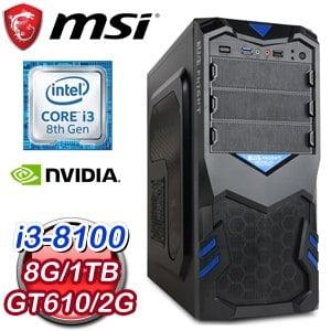 微星 PLAYER【混水摸魚】Intel i3-8100 四核心 遊戲電腦