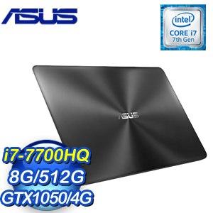 ASUS 華碩 UX550VD-0021B7700HQ 15.6吋筆記型電腦 (黑/i7-7700HQ/8G/512G/GTX1050/WIN10)