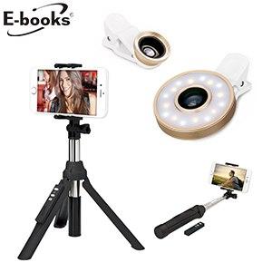 《自拍補光超值組》E-books N35藍牙三腳架自拍組+N42六合一LED美顏自拍補光燈鏡頭組