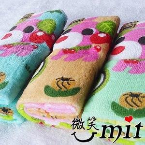 【微笑MIT】舒特 茶犬絨面印花童巾 TTD-012(藍/3入)