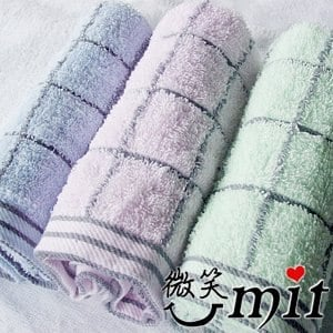 【微笑MIT】舒特 前漂素雅格子毛巾 MDY-1082(綠/3入)