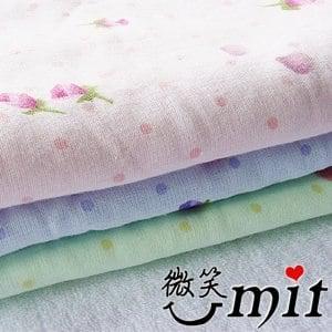 【微笑MIT】舒特 紗布玫瑰印花浴巾 SYPR-9320(藍)
