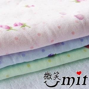 【微笑MIT】舒特 紗布玫瑰印花浴巾 SYPR-9320(綠)