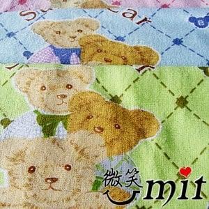 【微笑MIT】舒特 熊絨面印花童巾 TPR-750(綠/3入)