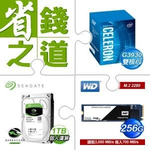 ☆自動省★ G3930/2.9G/2M盒 LGA1151+希捷 新梭魚 1TB 3.5吋硬碟+WD SSD 256G M.2 2280 PCIe Gen3 固態硬碟《黑標》