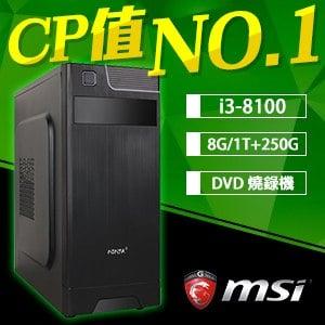 微星 文書系列【蒂瑪西亞楷模】i3-8100四核 商務電腦(8G/250G SSD/1TB)