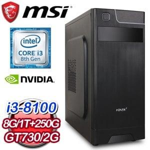 微星 電玩系列【虛空之女】i3-8100四核 N730K 娛樂電腦(8G/250G SSD/1TB)