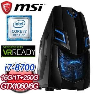 微星 電競系列【盲眼武僧】i7-8700六核 GTX1060 遊戲電腦(16G/250G SSD/1TB)