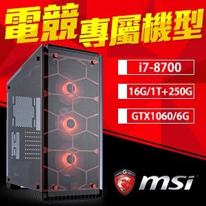 微星 電競系列【傲雪巫女】i7-8700六核 GTX1060 遊戲電腦(16G/250G SSD/1TB)