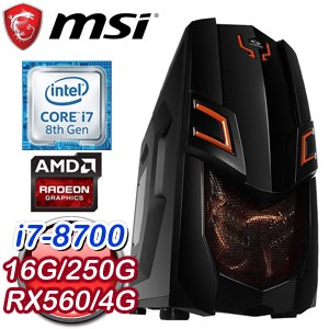 微星 電競系列【虛空先知】i7-8700六核 RX560 遊戲電腦(16G/250G SSD)