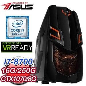 華碩 電競系列【半龍少女】i7-8700六核 GTX1070 遊戲電腦(16G/250G SSD)