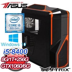 華碩 PLAYER【忠驅義感】Intel i5-8400六核心 GTX1060 6G 獨顯高效能SSD電腦《含WIN10》